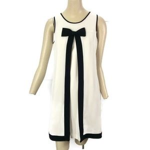 Cece Ivory Black Bow Dress Size 4 Sleeveless